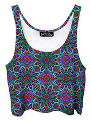 Trippy front view of GratefullyDyed Apparel blue, green & purple flower mandala crop top.
