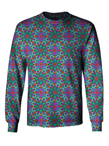 Gratefully Dyed Apparel blue, purple & green fractal unisex long sleeve front view.