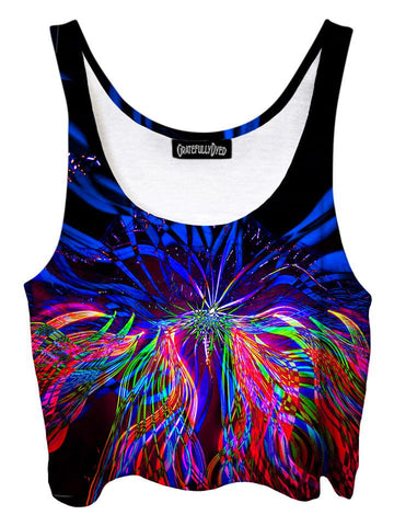 Trippy front view of GratefullyDyed Apparel black, blue & rainbow light show mandala crop top.
