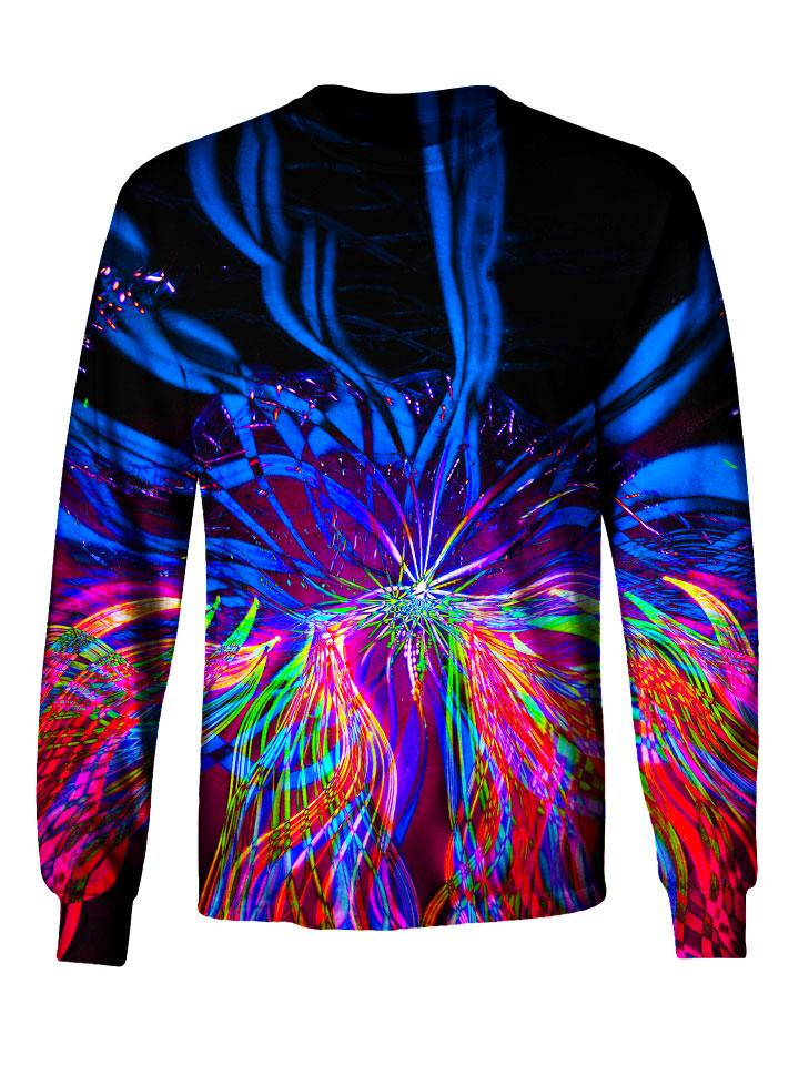 Gratefully Dyed Apparel blue & rainbow light show mandala unisex long sleeve front view.