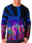 Front view of model wearing Gratefully Dyed Apparel light show mandala unisex long sleeve.