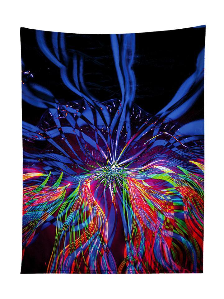 Vertical hanging view of all over print blue & rainbow light show tapestry by GratefullyDyed Apparel.