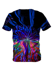Back view of all over print psychedelic fractal t shirt by Gratefully Dyed Apparel.