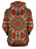 Rear of women's all over print orange & blue psychedelic mandala hoody.