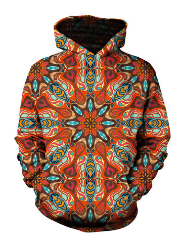 Men's orange & blue psychedelic mandala pullover hoodie front view.