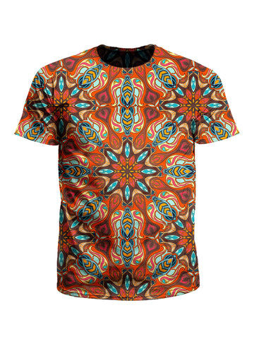 Men's orange & blue mandala unisex t-shirt front view.