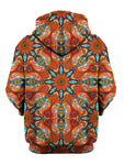 Rear of orange & blue retro mandala zip-up hoody.