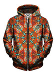 Men's orange & blue retro mandala zip-up hoodie front view.