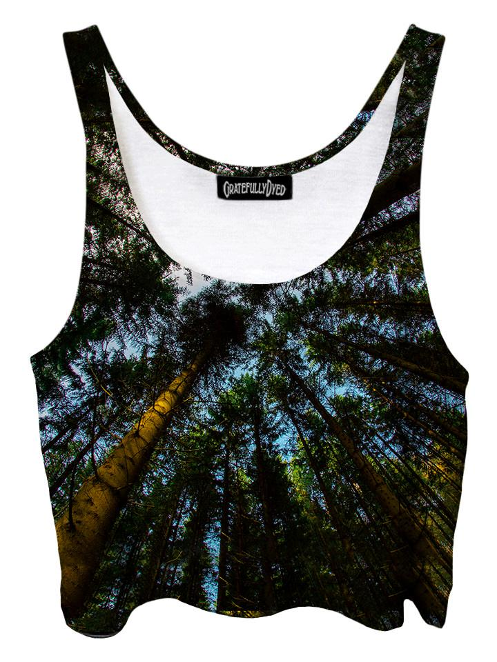 Trippy front view of GratefullyDyed Apparel blue & green redwood forest crop top.