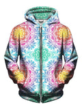 Beautiful Light Colors Infinite Flower Print Zip Up Hoodie