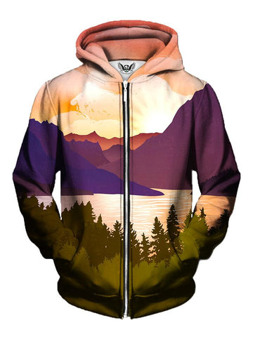 Men's pink, purple & green forest mountain zip-up hoodie front view.