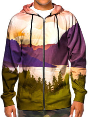 Model wearing GratefullyDyed Apparel psychedelic pink, purple & green forest mountain zip-up hoodie.