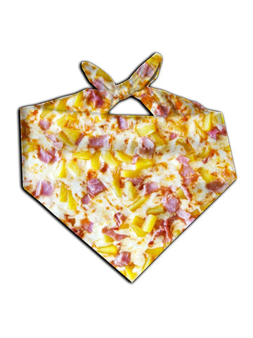 All over print pineapple pizza bandana by GratefullyDyed Apparel tied neck scarf view.
