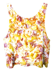 All over print psychedelic foodie cropped top by Gratefully Dyed Apparel back view.