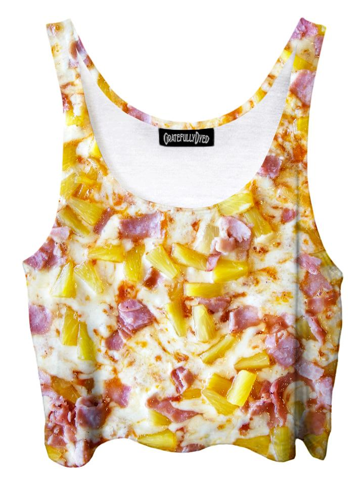 Trippy front view of GratefullyDyed Apparel pineapple pizza crop top.