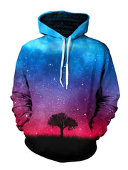 Tree Silhouette In Space Pullover Hoodie Front View