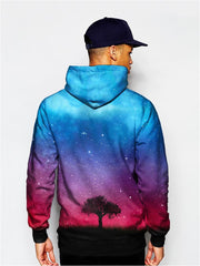 Model In Tree Silhouette In Space Pullover Hoodie Back View