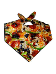 All over print supreme pizza bandana by GratefullyDyed Apparel tied neck scarf view.