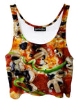 Trippy front view of GratefullyDyed Apparel green & red supreme pizza crop top.