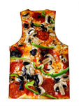 Psychedelic all over print foodie tank by GratefullyDyed Apparel back view.