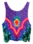 All over print psychedelic tie dye cropped top by Gratefully Dyed Apparel back view.