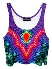 Trippy front view of GratefullyDyed Apparel rainbow tie-dye crop top.