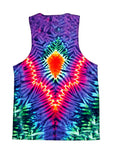 Psychedelic all over print tie dye tank by GratefullyDyed Apparel back view.
