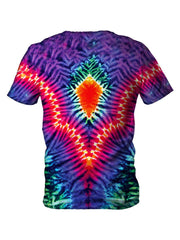 Back view of all over print psychedelic hippie t shirt by Gratefully Dyed Apparel.