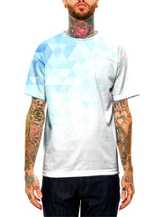 Model wearing GratefullyDyed Apparel white & blue polygon unisex t-shirt.