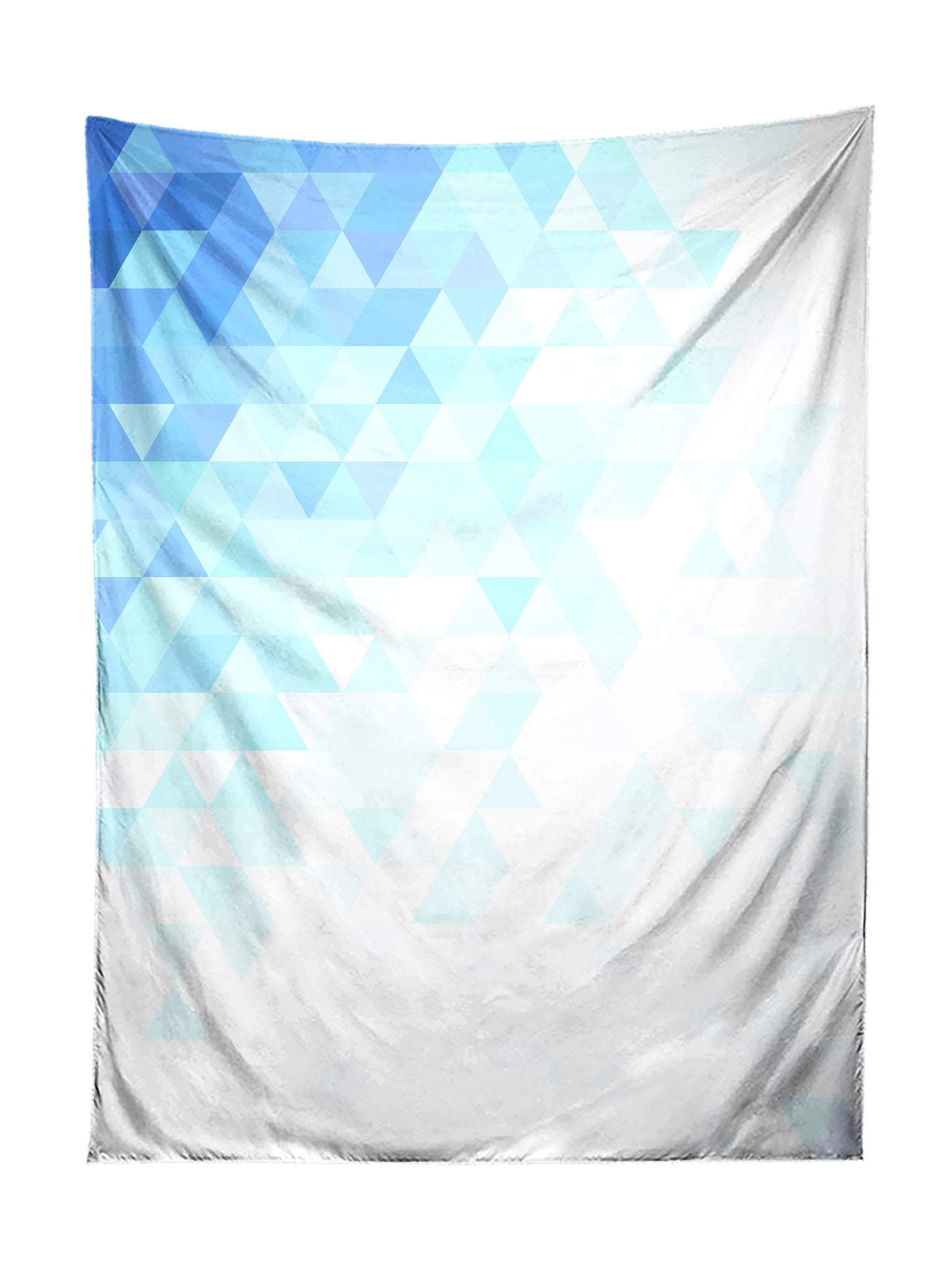 Vertical hanging view of all over print blue & white polygon pattern tapestry by GratefullyDyed Apparel.