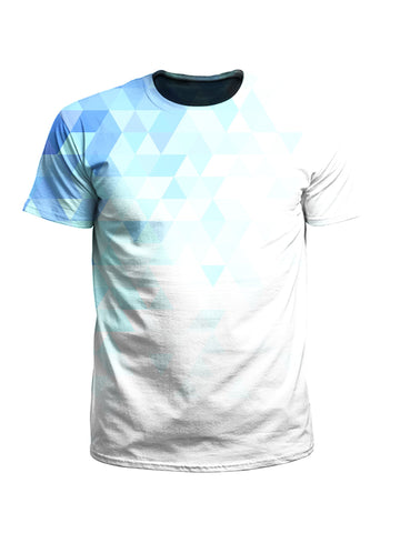 Men's white & blue polygon unisex t-shirt front view.