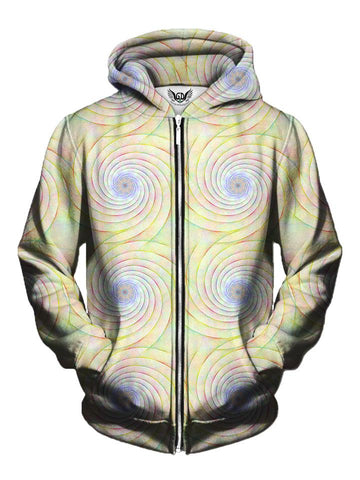 Men's pastel rainbow spiral fractal zip-up hoodie front view.