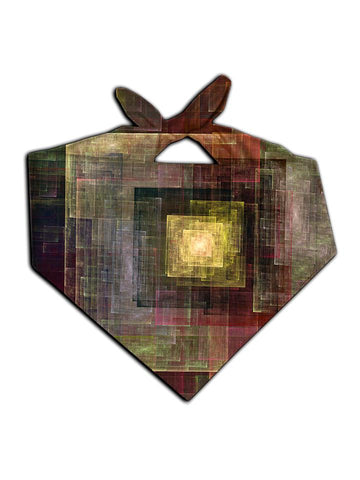 Brown and gold square artwork printed bandana tied