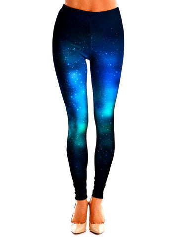 Deep Blue Space Leggings Front View