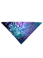 Blue and purple dots all over print bandana folded