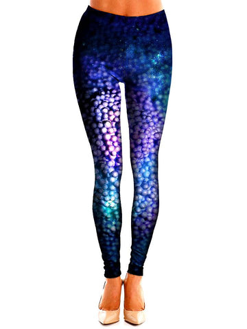 Dark Blue and Purple Dots Leggings Front View