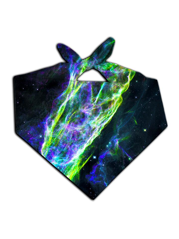 Green and blue splatter on black bandana tied