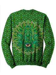 Psychedelic Green Leaf Crew Neck Sweater Back View