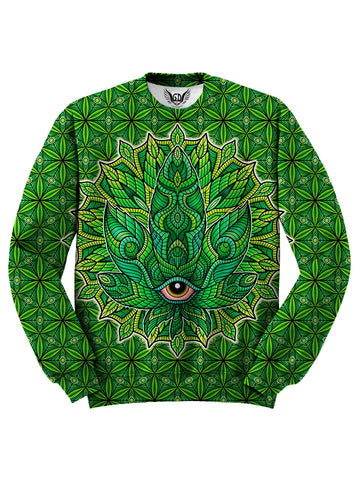Psychedelic Green Leaf Crew Neck Sweater Front View