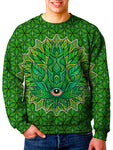 Model In Psychedelic Green Leaf Crew Neck Sweater Front View