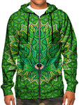 Model in green stoner leaf zip up hoodie all over print front view