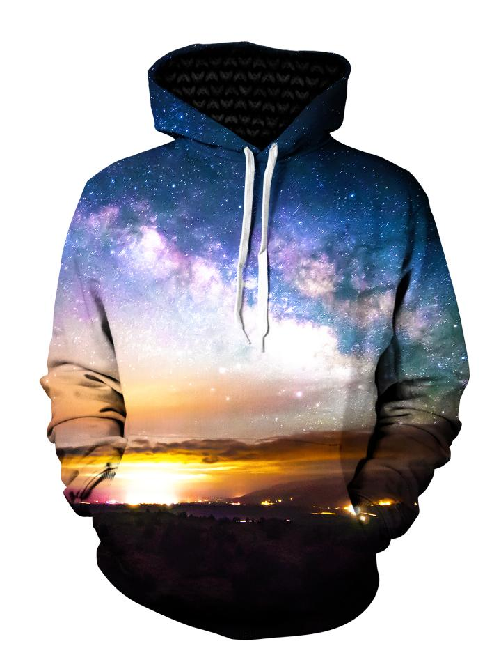 Space Sun On Horizon Pullover Hoodie Front View