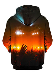 Crowd silhouette in red concert lights all over print pullover hoodie back view