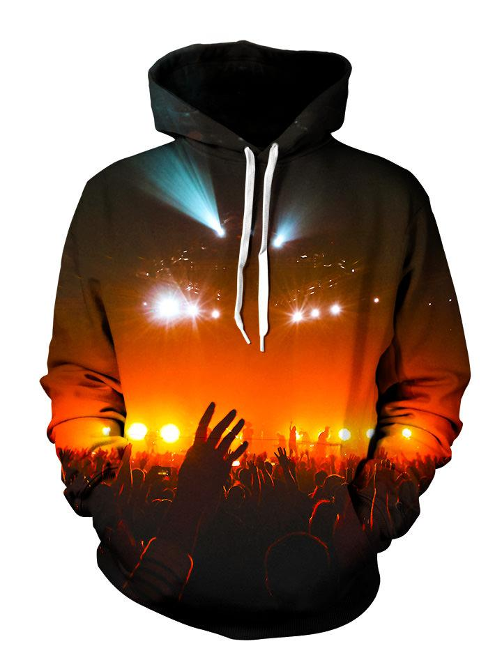 Crowd silhouette in red concert lights all over print pullover hoodie with white strings