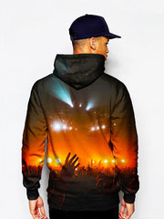 Model in pullover hoodie with crowd silhouette in red concert lights all over print