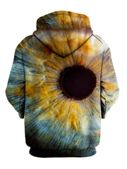 Up close iris all over print pullover hoodie back view