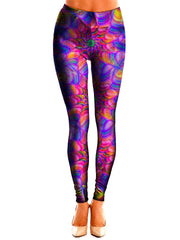 Colorful Kaleidoscope Print Leggings Front View