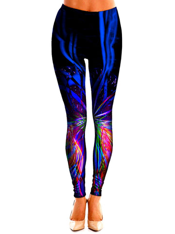 Trippy Neon Colors Leggings Front View