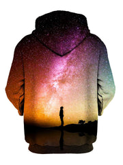 Person Staring Into Galaxy Pullover Hoodie Back View