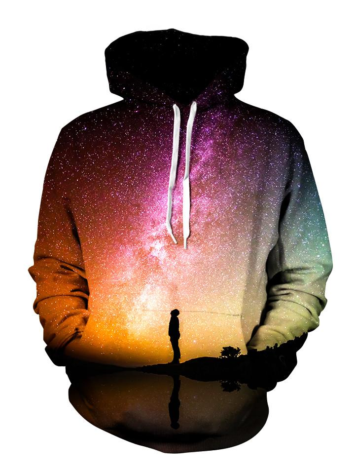 Person Staring Into Galaxy Pullover Hoodie Front View